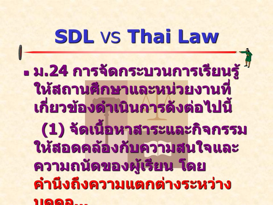 SDL VS Thai Law  ม.24 การจัดกระบวนการเรียนรู้ ให้สถานศึกษาและหน่วยงานที่ เกี่ยวข้องดำเนินการดังต่อไปนี้ (1) จัดเนื้อหาสาระและกิจกรรม ให้สอดคล้องกับความสนใจและ ความถนัดของผู้เรียน โดย คำนึงถึงความแตกต่างระหว่าง บุคคล...