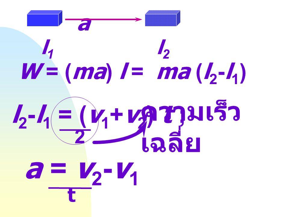 W = f l W = mgh = mgh 2 - mgh 1 งาน = การเปลี่ยนแปลงของพลังงานศักย์ h2h2 f h1h1