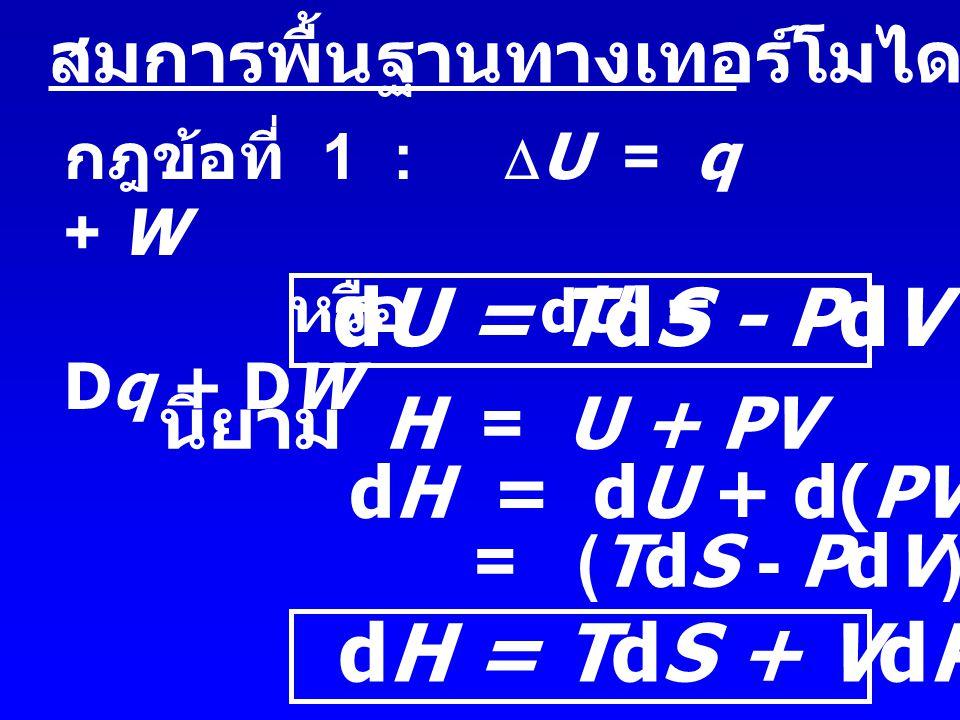 Chemical Potential ศักย์เคมี  Molar Gibbs' Free Energy G =