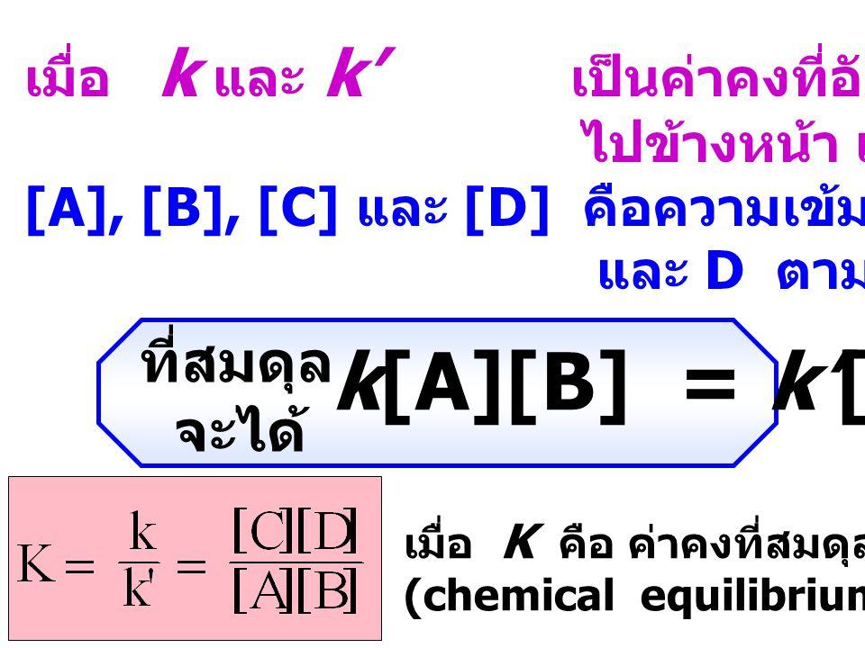 การเกิดสภาวะสมดุลในปฏิกิริยาเคมี มีลักษณะเป็น ไดนามิกส์ คือ อัตราการเกิดปฏิกิริยาไปข้างหน้า เท่ากับ อัตราการเกิดปฏิกิริยาย้อนกลับ สมดุลเคมีสำหรับปฏิกิริยาเคมี A + B C + D k k' อัตราการเกิดปฏิกิริยาไปข้างหน้า = k[A][B] อัตราการเกิดปฏิกิริยาย้อนกลับ = k'[C][D]