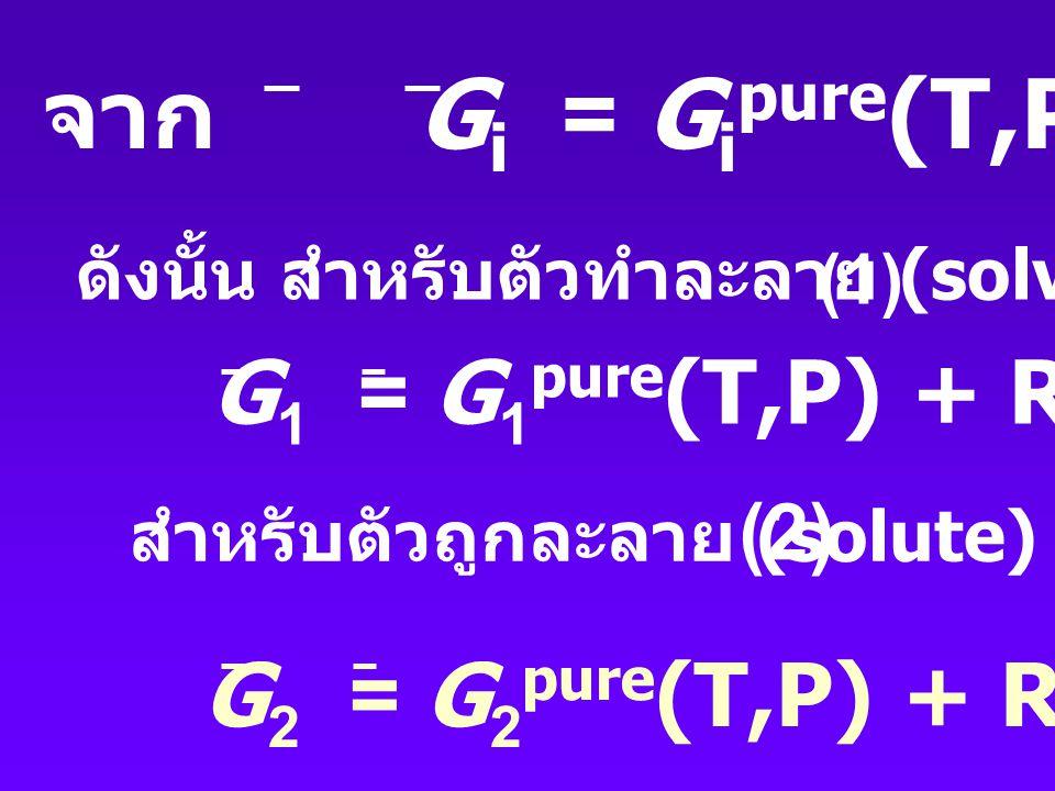 จากความสัมพันธ์ : P i = x i P เมื่อ P = ความดันรวม (total pressure) (Dalton's Law) จะได้ Gi = Gio(T) + RTln P + RTlnxi เป็นค่า chemical potential ของ pure component i ที่ความดันเท่ากับ P