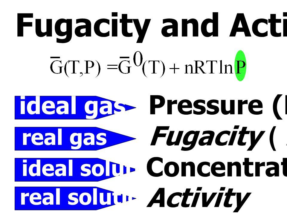 โดยที่ G 2 = G 2 pure (T,P) + RT ln a 2 สารที่มีพฤติกรรมคล้าย ideal solution มี ค่า  ฎ 1 สารที่มีพฤติกรรมคล้าย ideal solution มี ค่า  ฎ 1