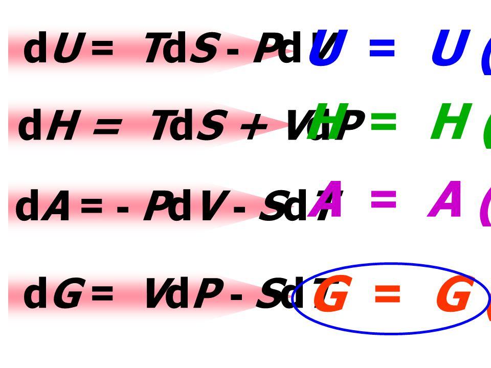 dU dU = TdS TdS - PdVPdV U = U (V,S) dH = TdS + VdPVdP H = H (P,S) dA dA = - PdV PdV - SdTSdT A = A (V,T) dG dG = VdP VdP - SdTSdT G = G (P,T)