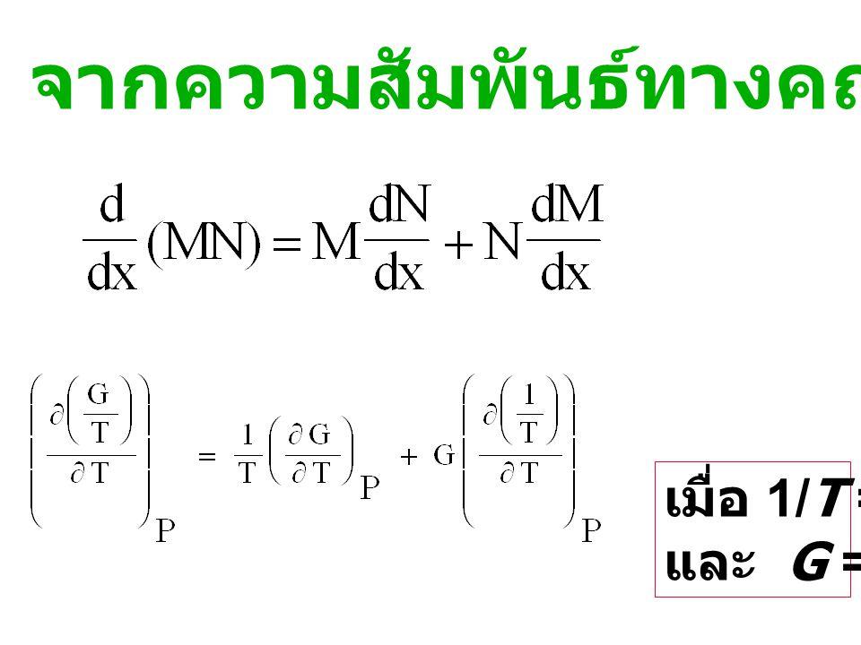 ความสัมพันธ์ระหว่าง  G กับ อุณหภูมิ จากสมการ : และจาก G = H-TS ; -S = G-H T จะได้