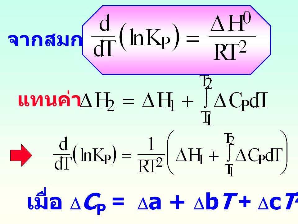 ถ้า  H < 0 ( คายความร้อน ) ค่า K จะลดลงเมื่อ T สูงขึ้น หลัก ของ Le Chatelier คือ เมื่อเพิ่มอุณหภูมิให้กับระบบแบบคายความร้อน จะมีผลทำให้ปฏิกิริยาเกิดขึ้นในทิศทาง ย้อนกลับ (K ลดลง ) ถ้าต้องการให้ปฏิกิริยาเกิดขึ้นในกรณีนี้ ต้องลดอุณหภูมิ ถ้า  H > 0 ( ดูดความร้อน ) ค่า K จะเพิ่มขึ้นเมื่อ T สูงขึ้น คือ เมื่อเพิ่มอุณหภูมิให้กับระบบแบบดูดความร้อน จะมีผลทำให้ปฏิกิริยาเกิดขึ้นจาก ซ้าย ฎ ขวา (K เพิ่มขึ้น )