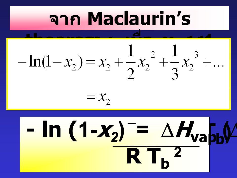 - ln x 1 =  H vap (  T b ) R T b 2 - ln (1-x 2 ) =  H vap (  T b ) R T b 2