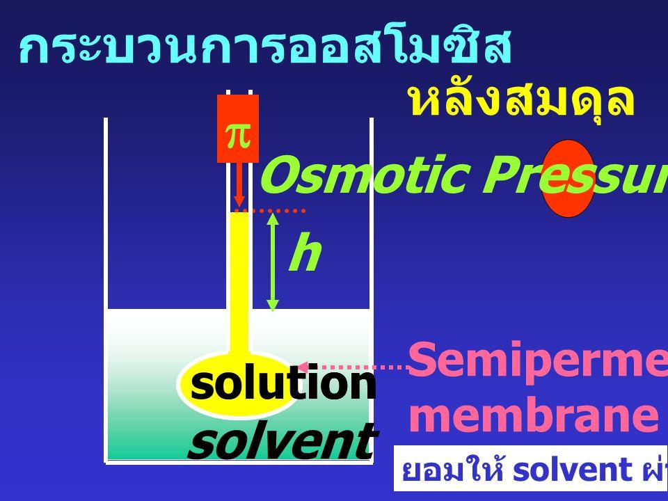 0smotic pressure (  ) หมายถึง ความดันที่จำเป็นต้องใช้ เพื่อหยุดกระบวนการออสโมซิส ที่ equilibrium  G = 0