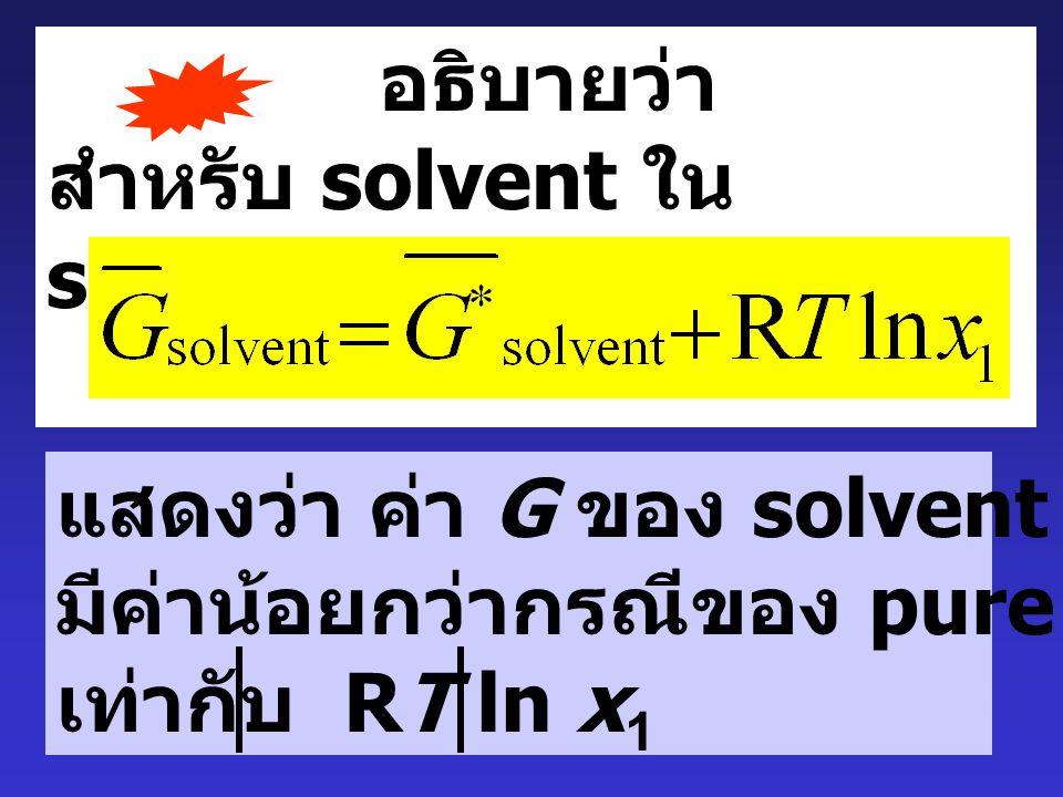 Osmotic Pressure :  solution solvent Semipermeable membrane solution หลังสมดุล กระบวนการออสโมซิส  h ยอมให้ solvent ผ่านเท่านั้น