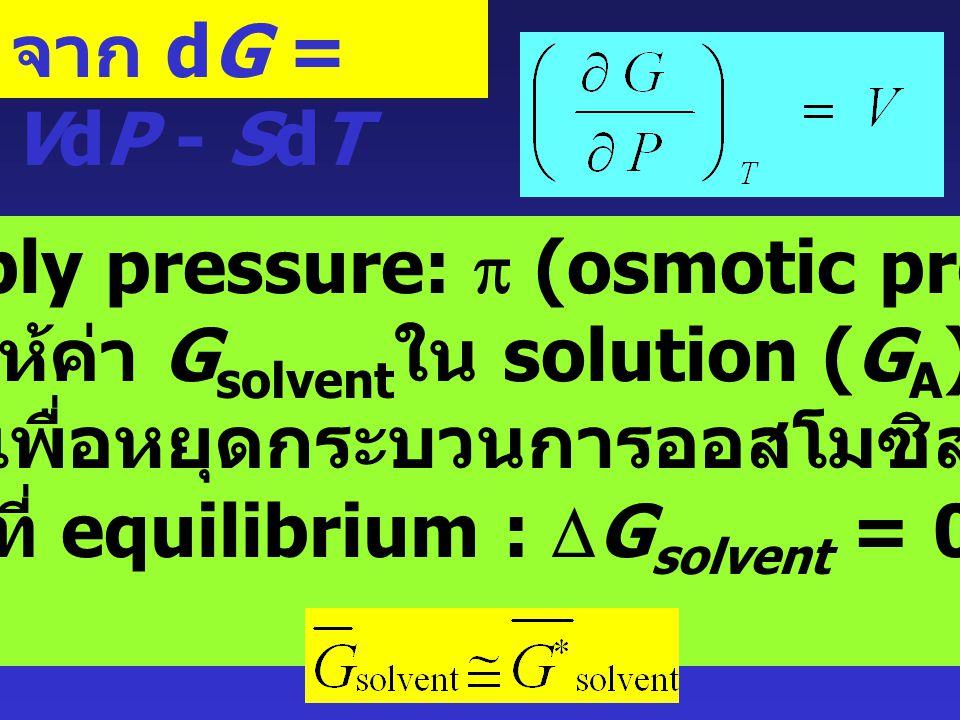 อธิบายว่า สำหรับ solvent ใน solution แสดงว่า ค่า G ของ solvent ใน solution มีค่าน้อยกว่ากรณีของ pure solvent อยู่ เท่ากับ RT ln x 1