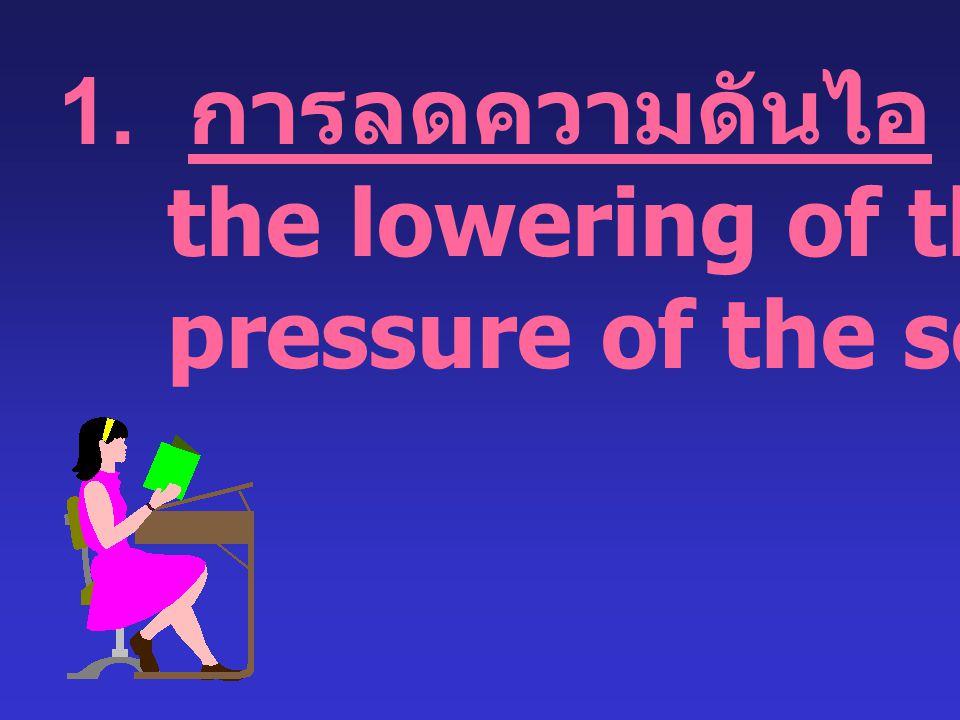 1. การลดความดันไอ the lowering of the vapor pressure of the solvent