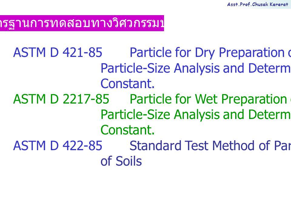 Asst.Prof.Chusak Kererat การแปลผลการทดสอบหาขนาดของเม็ดดินโดยวิธีร่อน ผ่านตะแกรงมาตรฐาน ผลที่ได้ไม่น่าเชื่อถือเมื่อ - น้ำหนักดินหายไประหว่างการทดสอบเกิน 0.5% - ตะแกรงที่ใช้ในการทดสอบชำรุด - น้ำหนักดินหายไประหว่างการทดสอบเกิน 0.5% - ตะแกรงที่ใช้ในการทดสอบชำรุด ข้อเสนอแนะ - ไม่ควรใส่ดินในตะแกรงมากเกินไป - ใช้เวลาในการร่อนผ่านตะแกรงเพียงพอ - ถ้าใช้วิธีล้างน้ำต้องแน่ใจว่าล้างเม็ดดินที่เล็กกว่า เบอร์ 200 จนหมด - ห้ามใส่ตัวอย่างลงในตะแกรงขณะยังร้อนอยู่ - ไม่ควรใส่ดินในตะแกรงมากเกินไป - ใช้เวลาในการร่อนผ่านตะแกรงเพียงพอ - ถ้าใช้วิธีล้างน้ำต้องแน่ใจว่าล้างเม็ดดินที่เล็กกว่า เบอร์ 200 จนหมด - ห้ามใส่ตัวอย่างลงในตะแกรงขณะยังร้อนอยู่