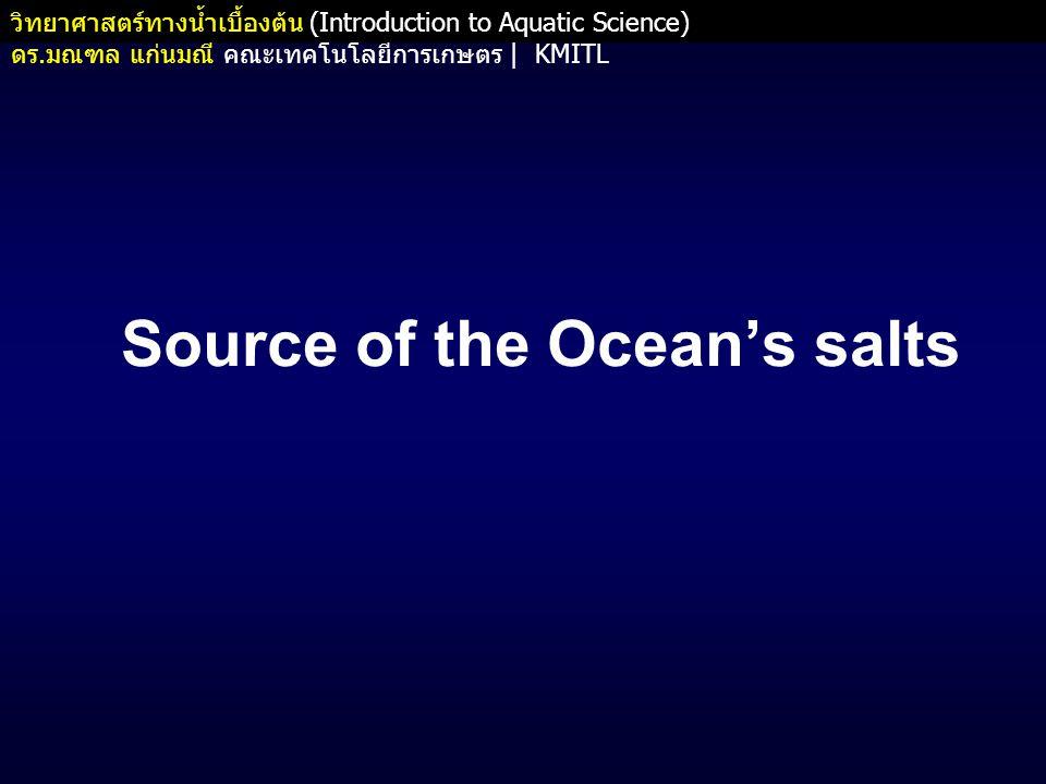 วิทยาศาสตร์ทางน้ำเบื้องต้น (Introduction to Aquatic Science) ดร.