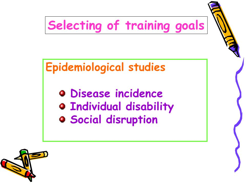 Selecting of training goals Epidemiological studies Disease incidence Individual disability Social disruption
