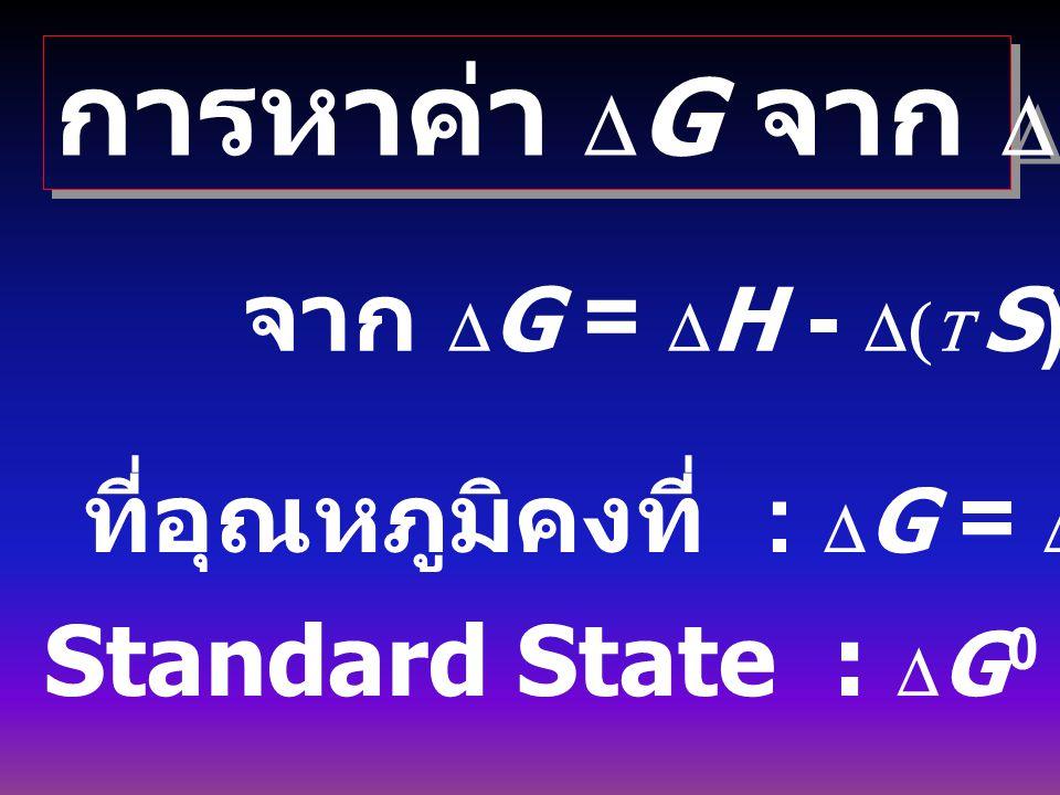 ความสัมพันธ์ระหว่าง A กับ G A = U - TS G = H - TS = U + PV - TS G = A + PV H = U + PV