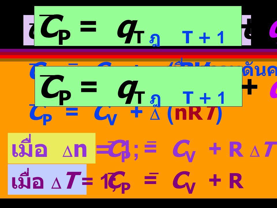 เมื่อความดันคงที่ รวมถึงเป็นปริมาณความร้อนที่เปลี่ยน ไปเป็นงานการขยายตัว C P คือ ปริมาณความร้อนที่ทำให้ อุณหภูมิ เพิ่มขึ้น C P = q T ฎ T + 1 + q PV-work