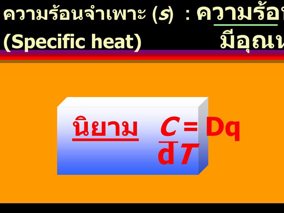 Heat Capacity ความจุความร้อน (C) : ปริมาณความร้อนที่ต้องใช้ ในการทำให้สารในระบบ มีอุณหภูมิเปลี่ยนไป 1 K ( หรือ 1 o C) ความจุความร้อนโมลาร์ (C ): ความร้อนที่ให้สาร 1 โมล (molar heat capacity) มีอุณหภูมิเปลี่ยนไป 1 K นิยาม