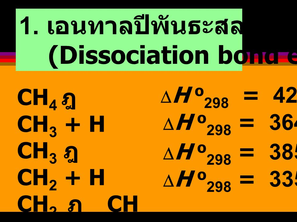 Bond Energy (Bond Enthalpy) พลังงานที่ใช้เพื่อเอาชนะแรงดึงดูด ระหว่างอะตอม เพื่อสลายพันธะของโมเลกุล A -- B ฎ  A + B  H =.… kJ mol -1