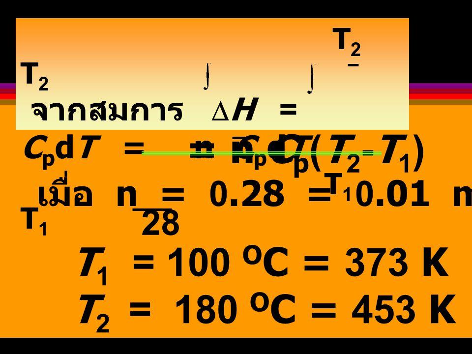 จากตาราง : C p = a + bT + CT 2 +...C p (N 2,g) = 27.3 + 5.23x10 -3 T - 0.04x10 -7 T 2 +...