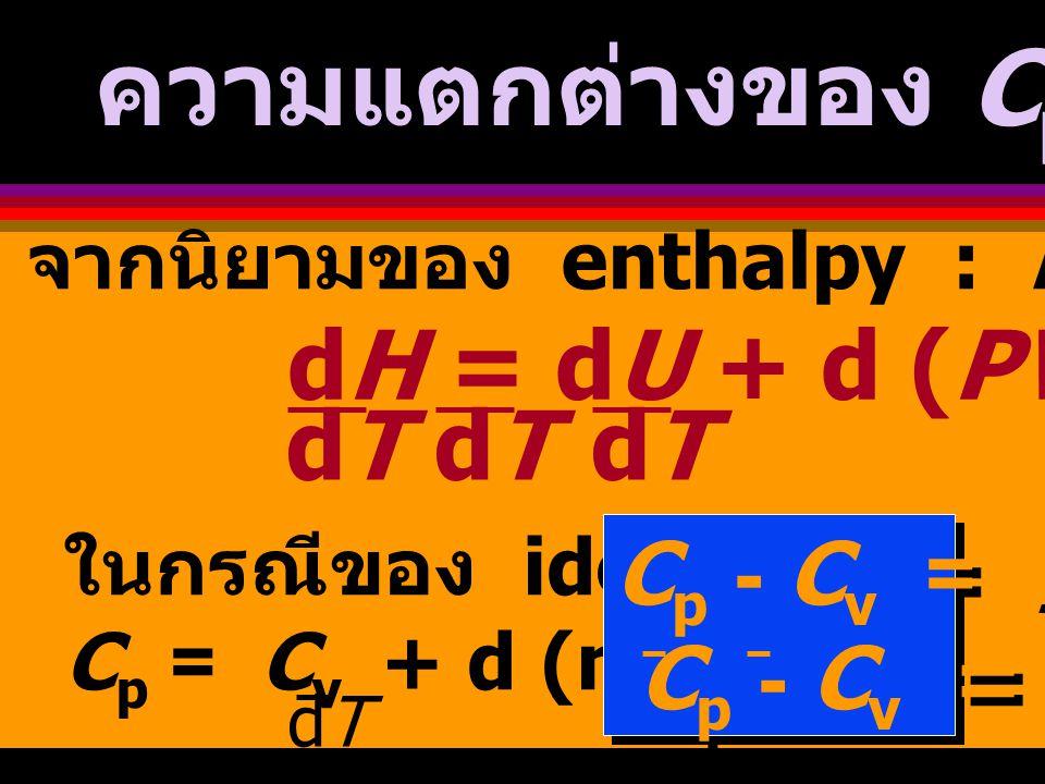  H = (0.01mol) (27.3 + 5.23x10 -3 T - 0.04x10 -7 T 2 ) dT 453 373 = (0.01) [ 27.3 T + 5.23x10 -3 T 2 - 0.04x10 -7 T 3 ] 453 373 23 = (0.01) [2184 + 172.8 - 0.055] = 23.57 J