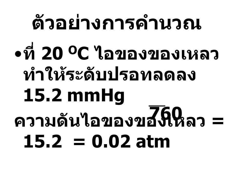 ตัวอย่างการคำนวณ • ที่ 20 O C ไอของของเหลว ทำให้ระดับปรอทลดลง 15.2 mmHg ความดันไอของของเหลว = 15.2 = 0.02 atm 760