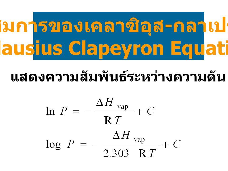 สมการของเคลาซิอุส - กลาเปรง (Clausius Clapeyron Equation) แสดงความสัมพันธ์ระหว่างความดัน (P) กับอุณหภูมิ (T)