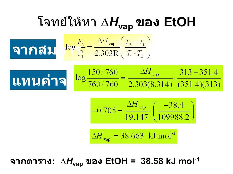 โจทย์ให้หา  H vap ของ EtOH จากสมการ แทนค่าจะได้ จากตาราง :  H vap ของ EtOH = 38.58 kJ mol -1
