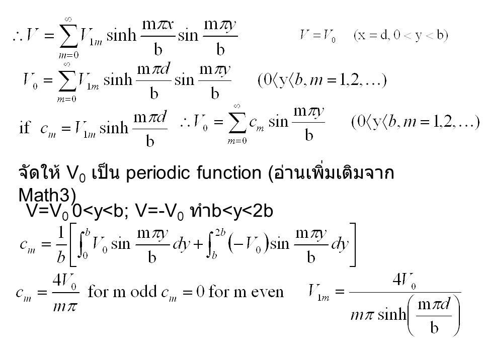 จัดให้ V 0 เป็น periodic function ( อ่านเพิ่มเติมจาก Math3) V=V 0 0<y<b; V=-V 0 ทำ b<y<2b