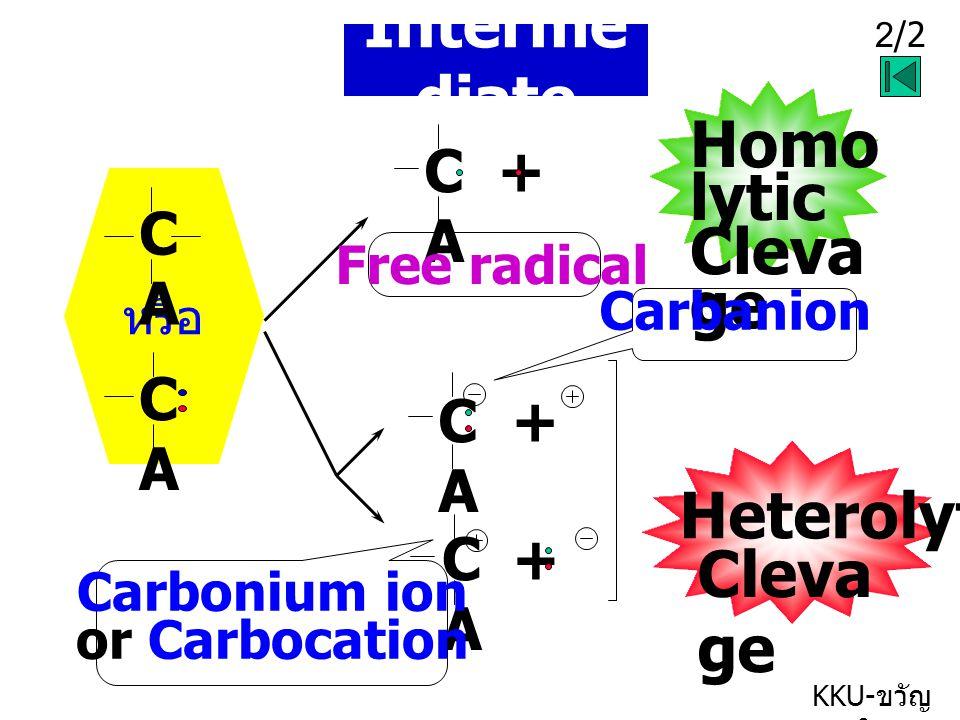 2/2 KKU- ขวัญ ใจ Interme diate หรือ CACA C + A Homo lytic Cleva ge Free radical C + A Heterolytic Cleva ge Carbonium ion or Carbocation Carbanion CACA