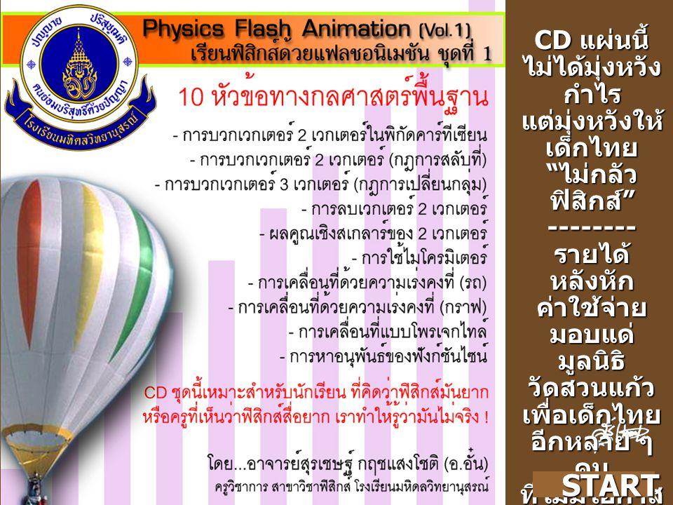 CD แผ่นนี้ ไม่ได้มุ่งหวัง กำไร แต่มุ่งหวังให้ เด็กไทย ไม่กลัว ฟิสิกส์ --------รายได้ หลังหัก ค่าใช้จ่าย มอบแด่ มูลนิธิ วัดสวนแก้วเพื่อเด็กไทย อีกหลาย ๆ คน ที่ไม่มีโอกาส แม้แต่ จะเรียน ฟิสิกส์ START