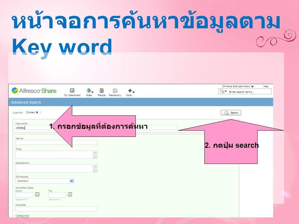 หน้าจอการค้นหาข้อมูลตาม Key word 1. กรอกข้อมูลที่ต้องการค้นหา 2. กดปุ่ม search