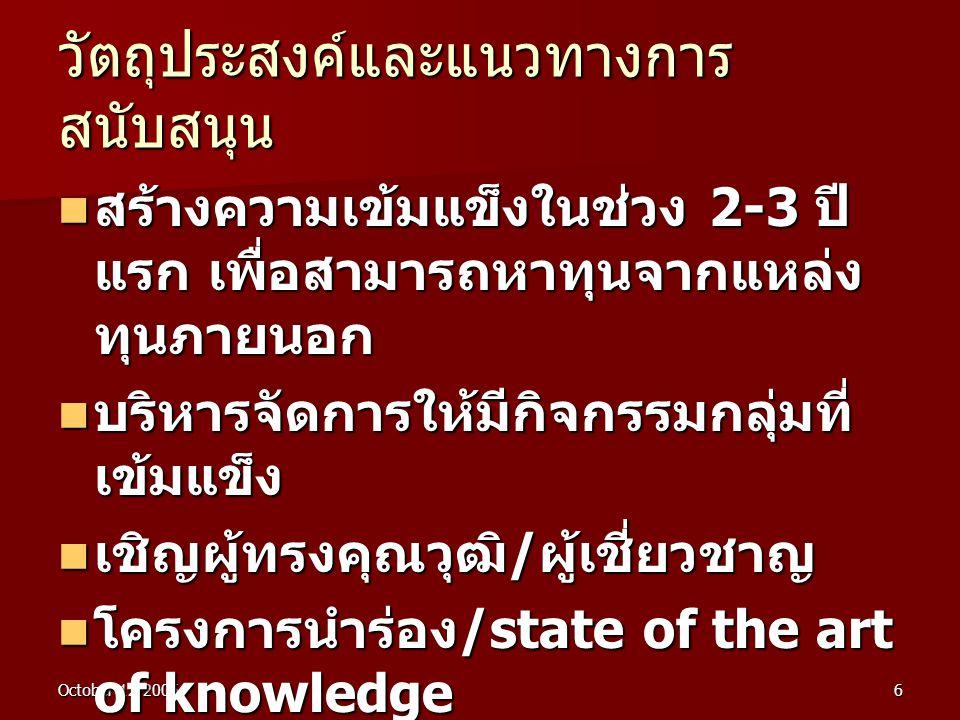 October 12-20056  สร้างความเข้มแข็งในช่วง 2-3 ปี แรก เพื่อสามารถหาทุนจากแหล่ง ทุนภายนอก  บริหารจัดการให้มีกิจกรรมกลุ่มที่ เข้มแข็ง  เชิญผู้ทรงคุณวุฒิ / ผู้เชี่ยวชาญ  โครงการนำร่อง /state of the art of knowledge  สร้างพลังกลุ่ม - เพื่อน วัตถุประสงค์และแนวทางการ สนับสนุน