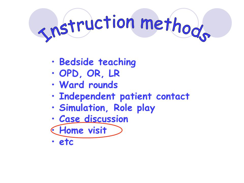 • Bedside teaching • OPD, OR, LR • Ward rounds • Independent patient contact • Simulation, Role play • Case discussion • Home visit • etc