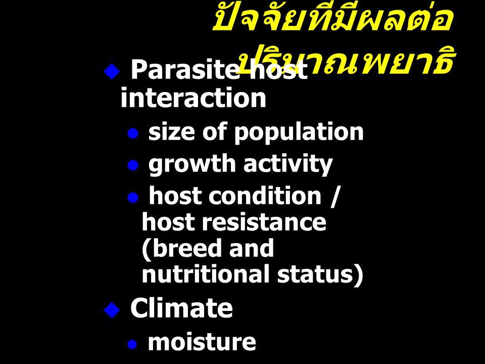 ปัจจัยที่มีผลต่อ ปริมาณพยาธิ  Parasite host interaction  size of population  growth activity  host condition / host resistance (breed and nutritio