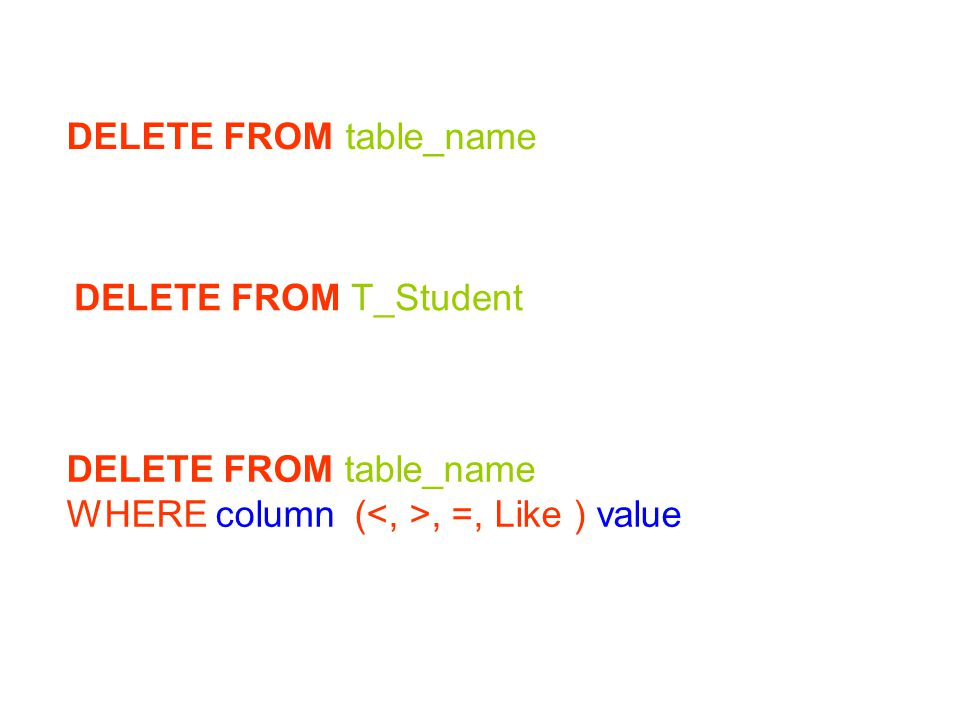 DELETE FROM table_name WHERE column (, =, Like ) value DELETE FROM T_Student