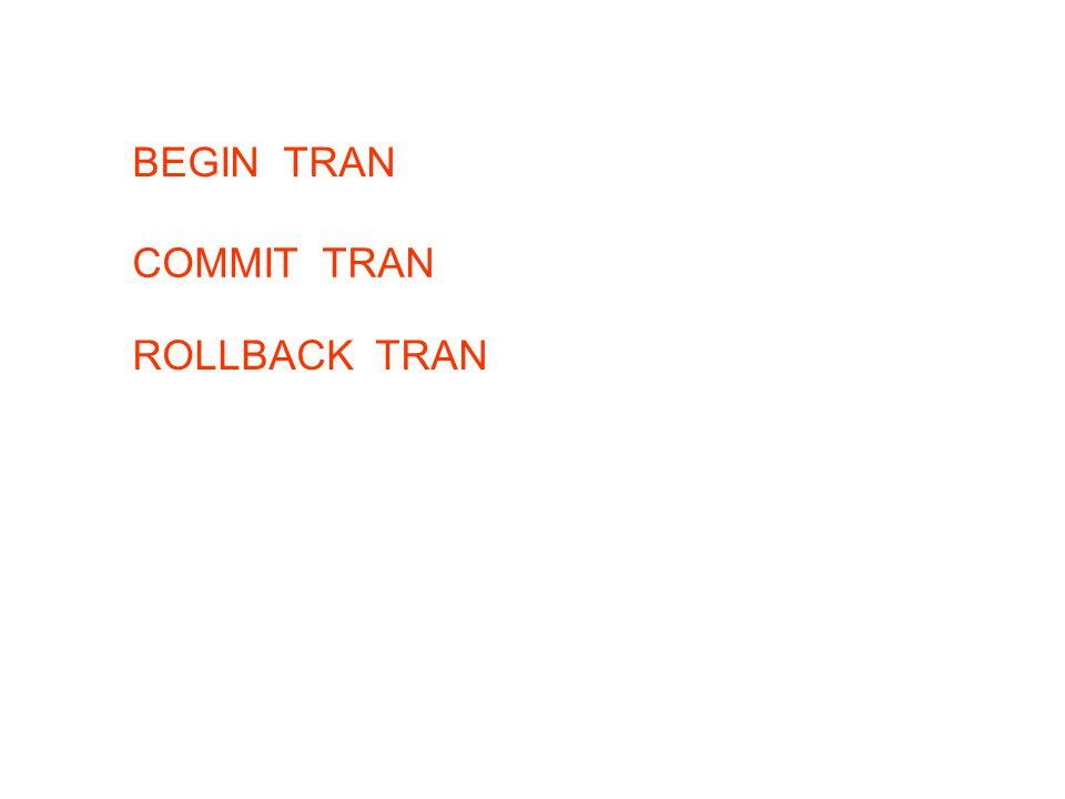 BEGIN TRAN COMMIT TRAN ROLLBACK TRAN