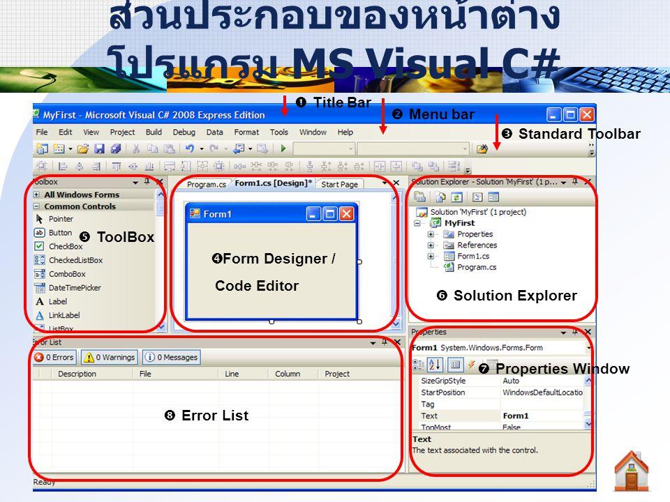 วิธีการเรียกส่วนประกอบสำคัญ ของหน้าต่างโปรแกรม มี 2 วิธี ดังนี้ คลิกเลือกที่ ToolBar คลิกที่เมนู View