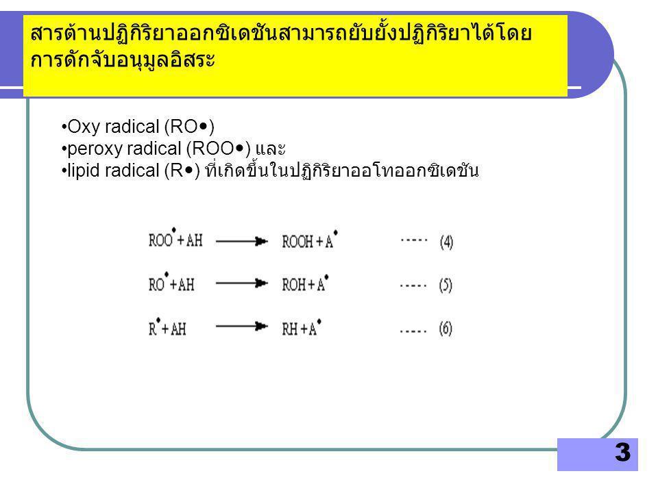 4 สารที่สามารถให้อนุมูลอิสระไฮโดรเจน (H  ) แก่อนุมูลอิสระเหล่านี้ได้ ( สมการ 4 5 และ 6) จะทำให้อนุมูลอิสระ oxy radical peroxy radical lipid radical ไม่ว่องไวกับการเกิดปฏิกิริยากับไขมันขั้นต่อไป ซึ่งจะช่วย ลดหรือยับยั้งการทำลายลิปิดได้