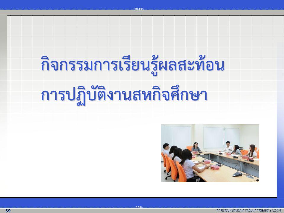 กิจกรรมการเรียนรู้ผลสะท้อน การปฏิบัติงานสหกิจศึกษา การประชุมประเมินการเรียนการสอน @2/2554 39