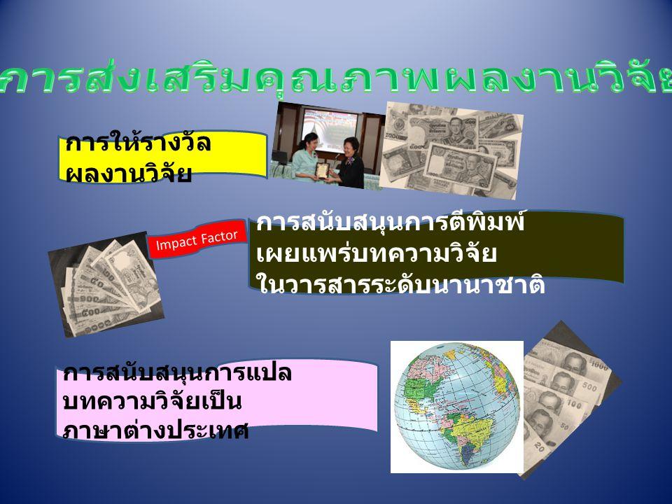 การให้รางวัล ผลงานวิจัย การสนับสนุนการตีพิมพ์ เผยแพร่บทความวิจัย ในวารสารระดับนานาชาติ การสนับสนุนการแปล บทความวิจัยเป็น ภาษาต่างประเทศ Impact Factor
