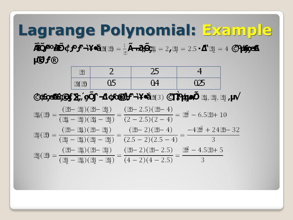 Lagrange Polynomial: Example