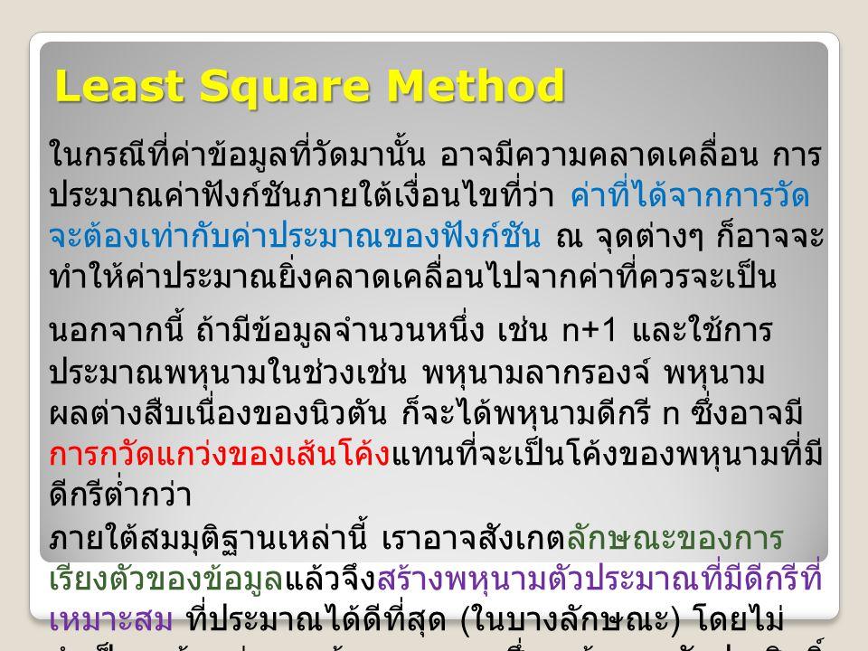 Least Square Method ในกรณีที่ค่าข้อมูลที่วัดมานั้น อาจมีความคลาดเคลื่อน การ ประมาณค่าฟังก์ชันภายใต้เงื่อนไขที่ว่า ค่าที่ได้จากการวัด จะต้องเท่ากับค่าป