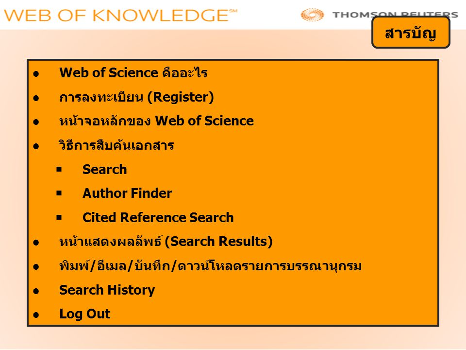●Web of Science คืออะไร ●การลงทะเบียน (Register) ●หน้าจอหลักของ Web of Science ●วิธีการสืบค้นเอกสาร  Search  Author Finder  Cited Reference Search