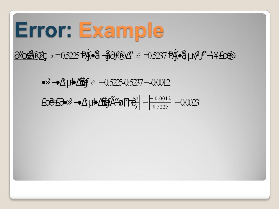 Propagated Error: Division ความคลาด เคลื่อนกำลัง สอง ความคลาด เคลื่อน สัมพัทธ์ของ การหาร ของเขตความ คลาดเคลื่อน สัมพัทธ์