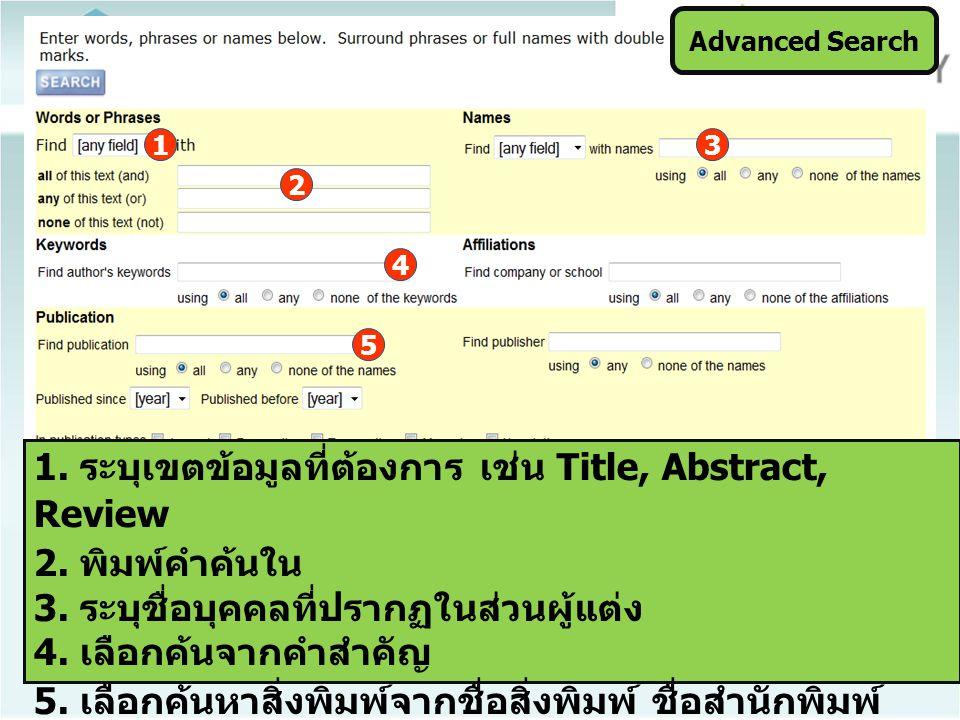 Advanced Search 1. ระบุเขตข้อมูลที่ต้องการ เช่น Title, Abstract, Review 2. พิมพ์คำค้นใน 3. ระบุชื่อบุคคลที่ปรากฏในส่วนผู้แต่ง 4. เลือกค้นจากคำสำคัญ 5.