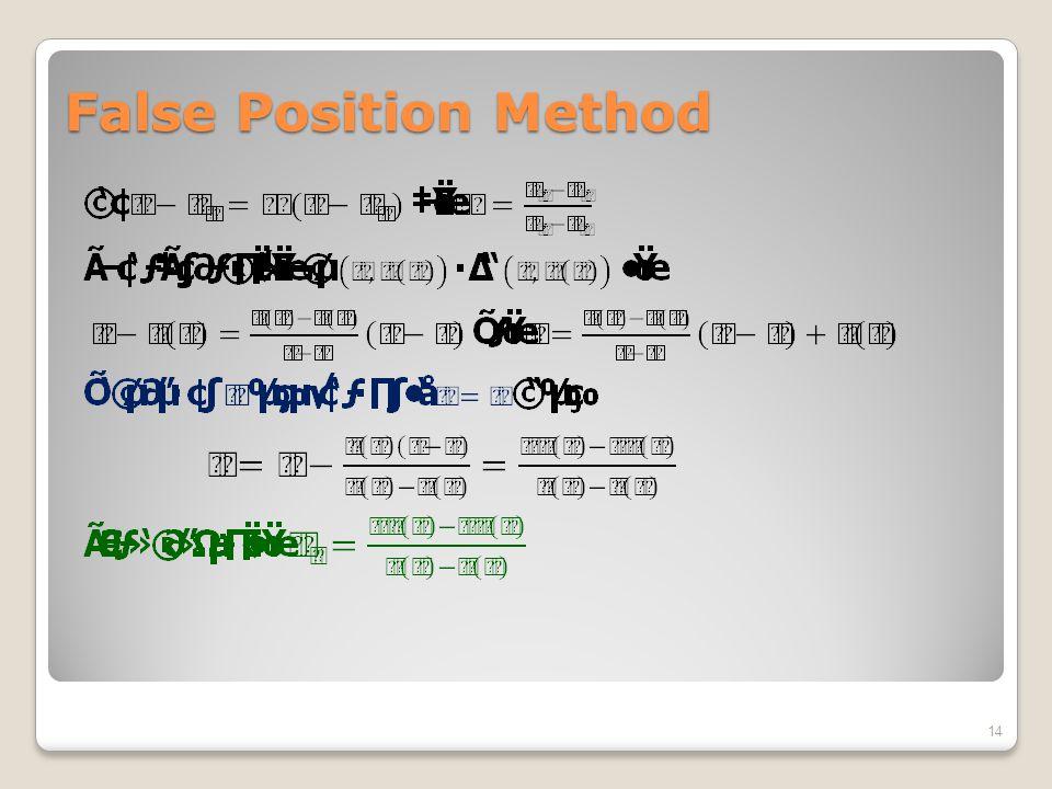 False Position Method 14