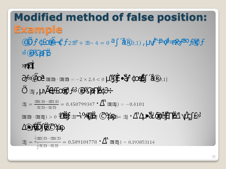 Modified method of false position: Example 28