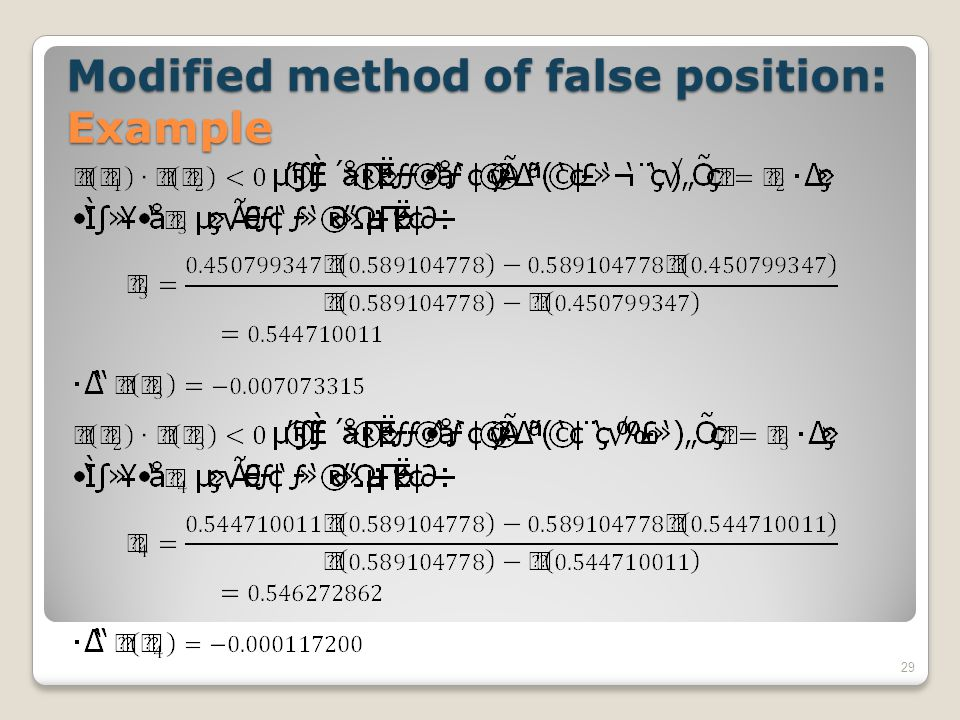 Modified method of false position: Example 29