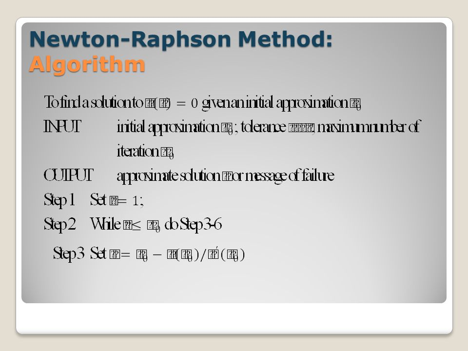 Newton-Raphson Method: Algorithm