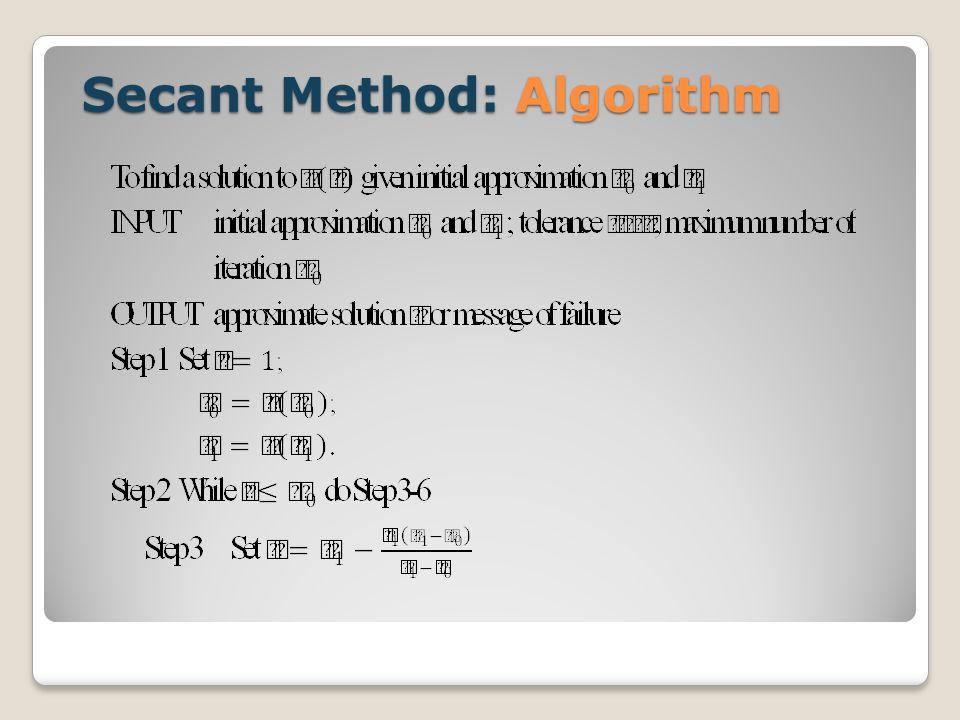Secant Method: Algorithm