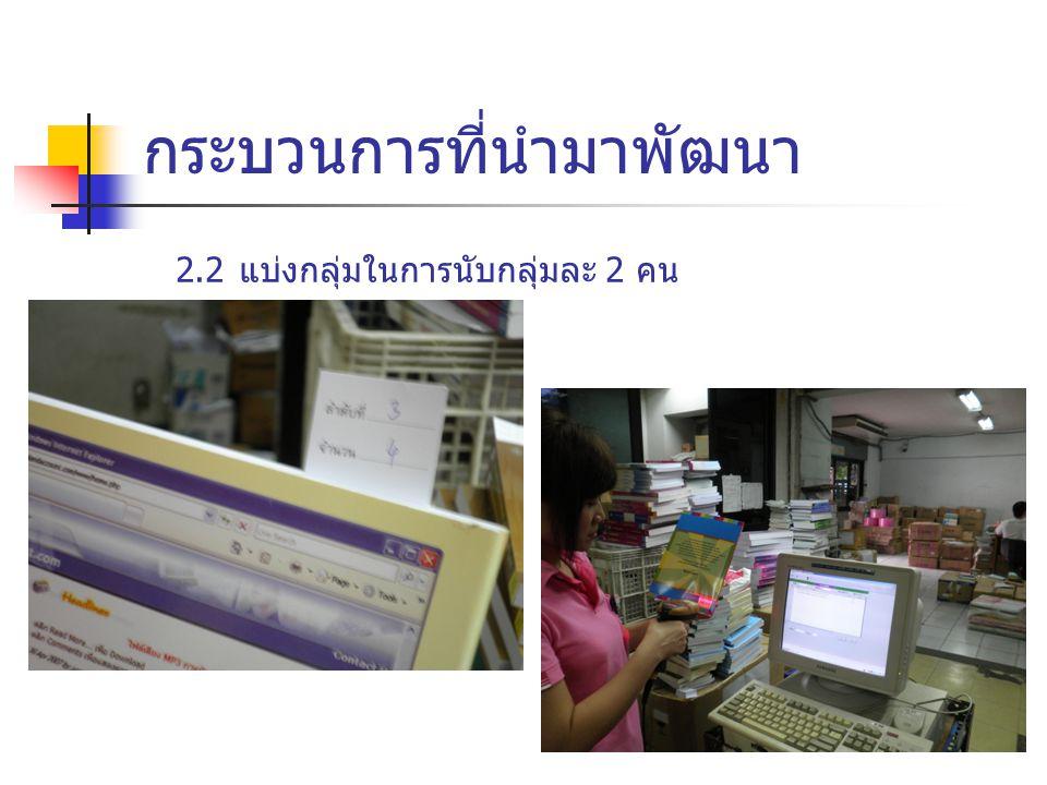  ในส่วนคลังสินค้าที่เครื่องคอมพิวเตอร์เข้าไม่ถึง ใช้การเขียนใบตรวจนับ และนำมาคีย์เข้าเครื่องคอมพิวเตอร์ กระบวนการที่นำมาพัฒนา